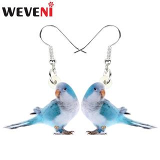 WEVENI Statement Acrylic Blue Monk Parakeet Bird Earrings Drop Dangle Fashion Jewelry For Women