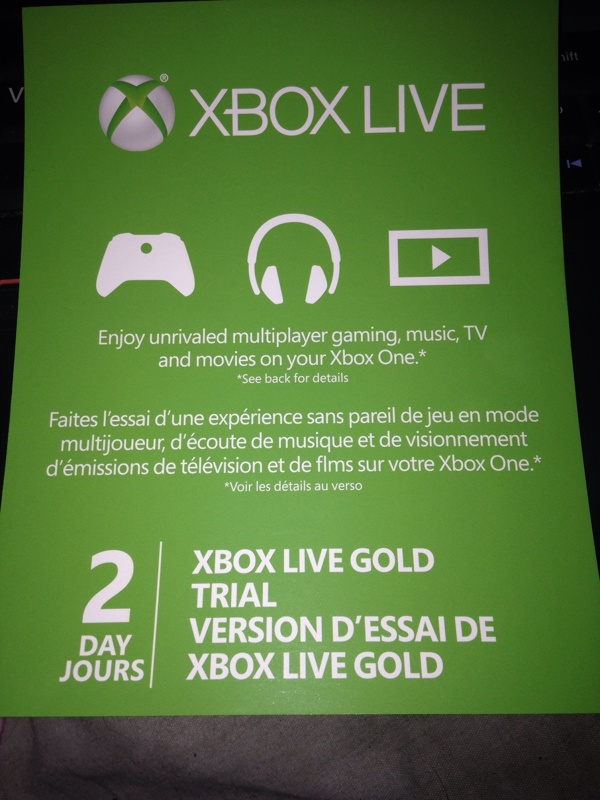free 2 day xbox live trial xbox one code video game. Black Bedroom Furniture Sets. Home Design Ideas