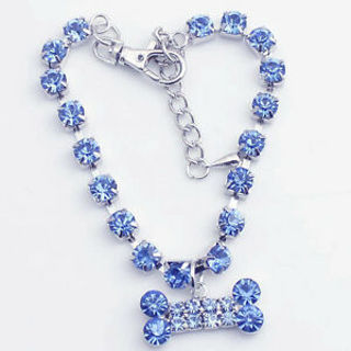 Crystal Diamante Bone Cat Dog Jewelry Rhinestone Pendant Pet Necklace Collars