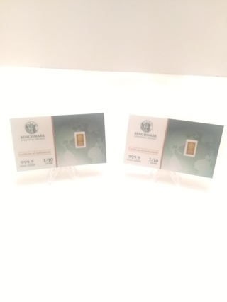 BENCHMARK 999.9 Fine Gold Bar, Lot of (2)