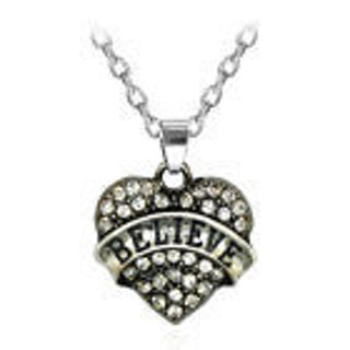 """New!! Crystal Love Heart Rhinestone """"BELIEVE"""" Necklace--Free shipping"""