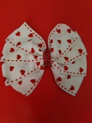 Bling heart valentine hair bow