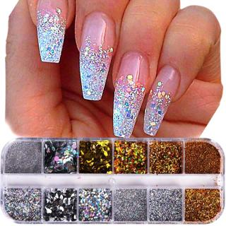 1Case Nail Glitter Powder Dust Iridescent Flakies Sequins Gold Silver Super Shining Paillette Nail