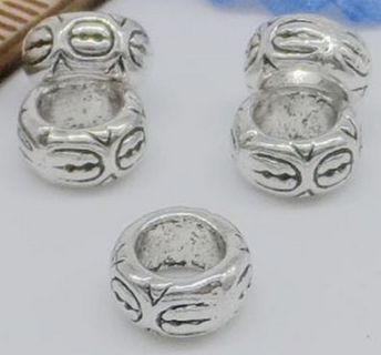 20pc Euro Silver-tone Carved Spacer Beads Lot 3 (PLEASE READ DESCRIPTION)