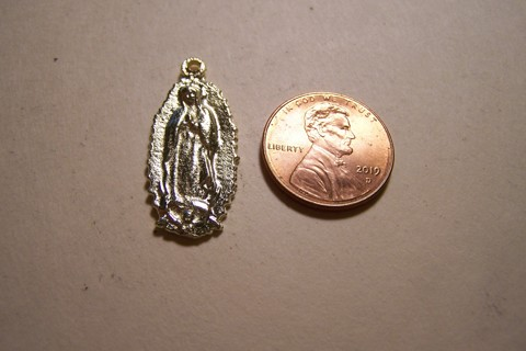 Virgin of Guadalupe Golden Brass Mexican Milagro Charm - Mexico