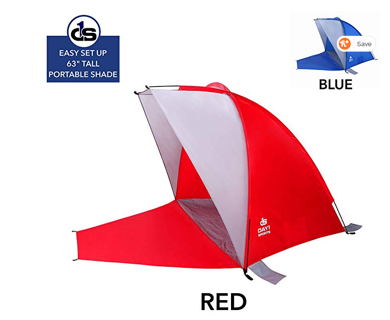 Beach Shade with Sand Stakes, Carry Bag in RED or BLUE
