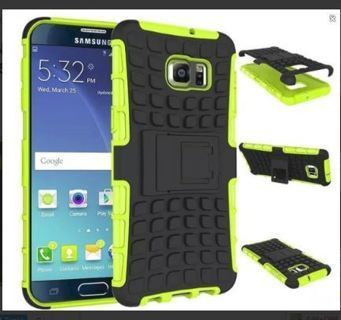 1 GALAXY s6 GREEN HYBRID◎ CASE HOUSING Scratch-Resistant Shock Absorbent No Slip Stand