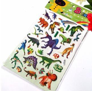 3D Jurassic dinosaur stickers
