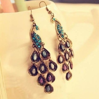[GIN FOR FREE SHIPPING] Women Bohemian Long Vintage Retro Blue Peacock Earrings