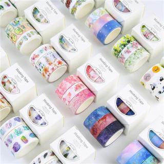 3 Rolls/Box Washi Masking Tape Set Petal Animal Flower Paper Masking Tapes Japanese Washi Tape DIY