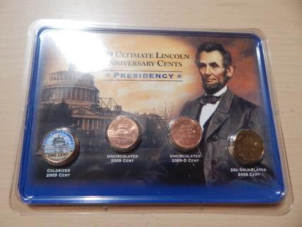 2009 Lincoln Bicentennial Presidency Penny Set Of 4