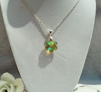 GIN DROP! AUTHENTIC 18MM SAHARA SNOWFLAKE SWAROVSKI CRYSTAL PENDANT STERLING SILVER NECKLACE
