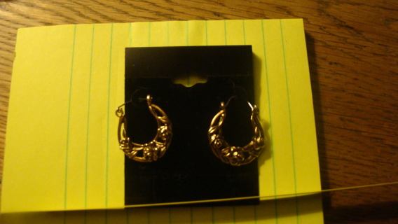 floral gold tone hoops
