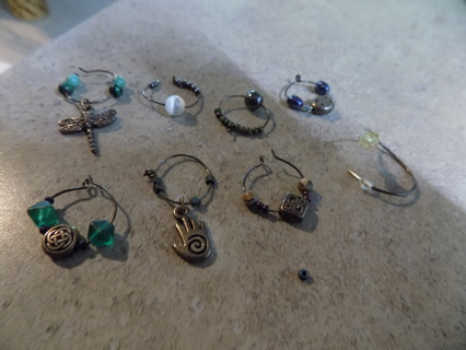 Set of 8 assorted wine glass charms # 2