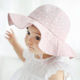 Infant Summer Outdoor Baby Girl Visor Cotton Sun Cap Floral Print Pink White Beach Bucket Hats LY2