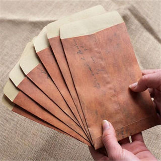 10PCs Do The Old Retro Color Postcards Manila Envelope Pouch Wax Paper Envelopes