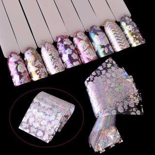 8pcs Transparent Laser Starry Transfer Sticker Nail Foils Flower Charming Design Manicure Salon Ac
