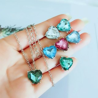 7 Pcs/set Women Fashion Color Crystal Heart Love Chain Pendant Silver Necklace Ear Studs Girl Party