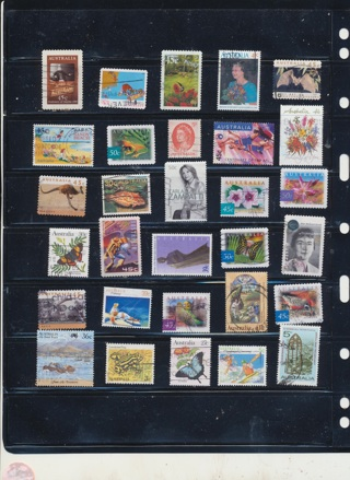 (30) Stamps from Austrlia,  All Different, Vintage, Used, Cancelled - AUS-111