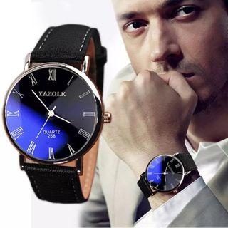 Men's Watch Luxury Faux Leather Mens Quartz Analog Business Wrist Watches