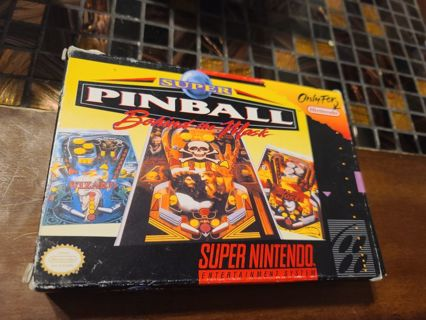 Snes Super Nintendo Super Pinball behind the mask complete in box
