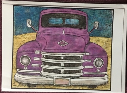 "PURPLE CAR - 5 x 7"" art card by artist Nina Struthers - GIN ONLY"