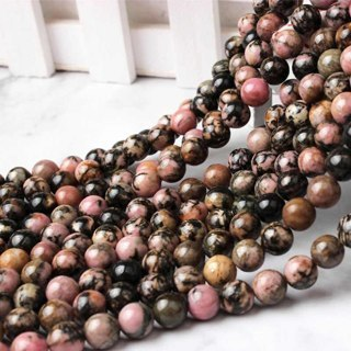 [GIN FOR FREE SHIPPING] 15in Natural Gemstone Black Line Rhodochrosite Round Beads