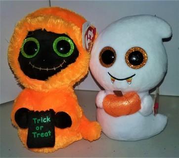 "2017 ""Seeker"" & ""Scream"" stuffed TY Beanie Boos Halloween decorations - 6"" tall each"