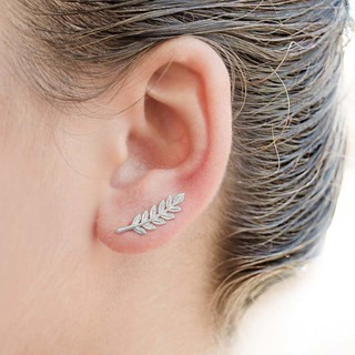 NEW Sparkly Silver 925 Leaf Branch Earrings Sparkly Light Weight Cute Dainty Minimalist