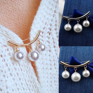 Pearl Charm Safety Pin Brooch Cardigan Clip