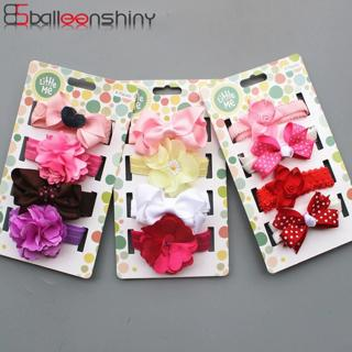 BalleenShiny 4PCS Baby Girls Flowers Headbands Set Child Kids Stretch Headwrap Newborn Infant Fash