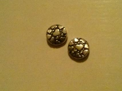 Two Tibetan Silver Hearts Charms