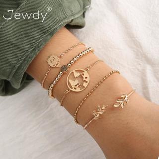 5 Pcs/Set Fashion Bohemian Buddha Leaf Earth Map Cuff Gold Chain Charm Bracelet Bangle for Women
