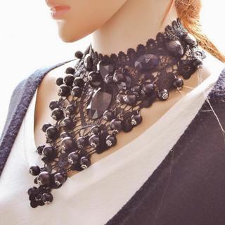 Grace Female Jewelry Black Lace Necklaces & Pendant Short Choker Women Accessories European Fashio