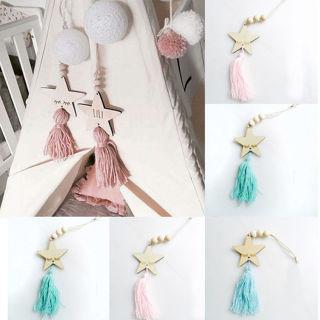 Nordic Style Star Shape Wooden Beads Tassel Pendant Kids Room Decor Ornament