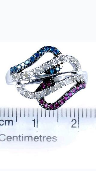 100% real diamond ring 925 stamp sterling silver size 7 ring
