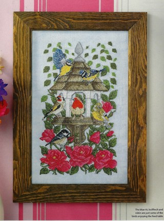 """NEW """"AT THE BIRD TABLE"""" COUNTED CROSS STITCH PATTERN -BEAUTIFUL BIRD FEEDER~FREE SHIP"""