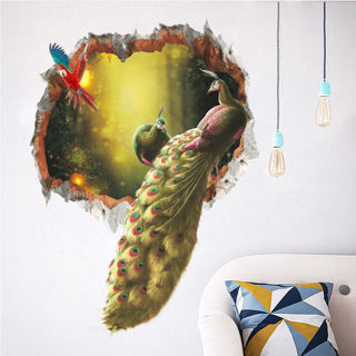 Peacock Feathers Birds Wall Stickers