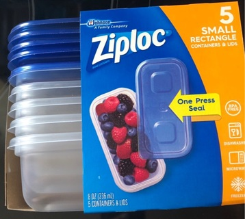 Ziploc Set Of 5 Small Rectangle Containers With Lids, New