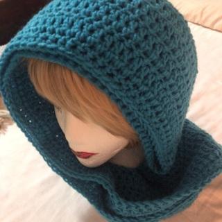 Hand Crochet D Aqua Cowel/Scarf.