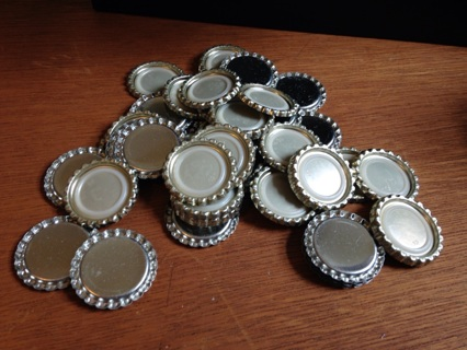 Lot Silver Bottle Caps - Smashed