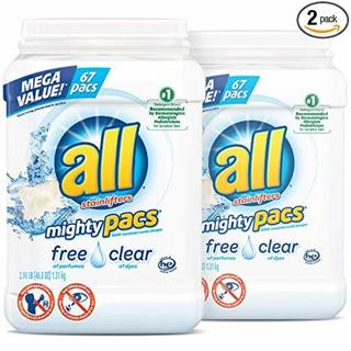✔~all Mighty Pacs Laundry Detergent, Free Clear for Sensitive Skin, 67 In Each Tub = 134 Total ~✔