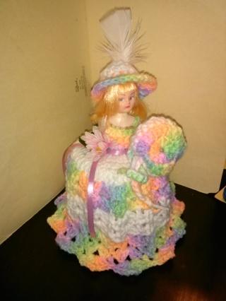 "Crochet Doll (B-1016) Covers Bathroom Tissue -- ""Pastel multi-colors"" / White"