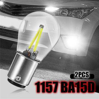 2x Car 1157 BA15D 12V COB LED Bulbs Reverse Backup Tail Brake Light Lamps White