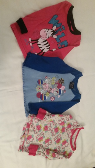 3 Girls' 12 Month Long Sleeved Pajama Tops
