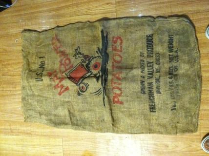 Vintage May Power Large Burlap Potato Sack Fair Condition