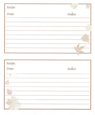 Group of Four Recipe Cards