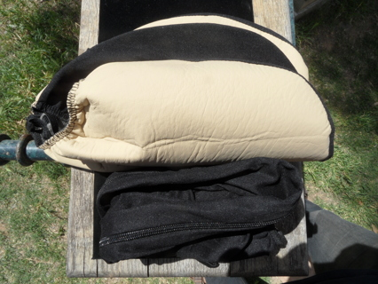 Tan & black Headrest Cover X 3 (universal) for vehicles