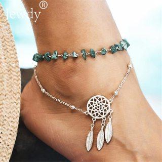 2PCS Bohemian Dreamcatcher Anklets Set For Women Green Stone Vintage Handmade Anklet Bracelet on Leg