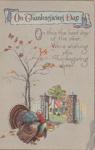 Vintage Used Postcard: 1934 On Thanksgiving Day